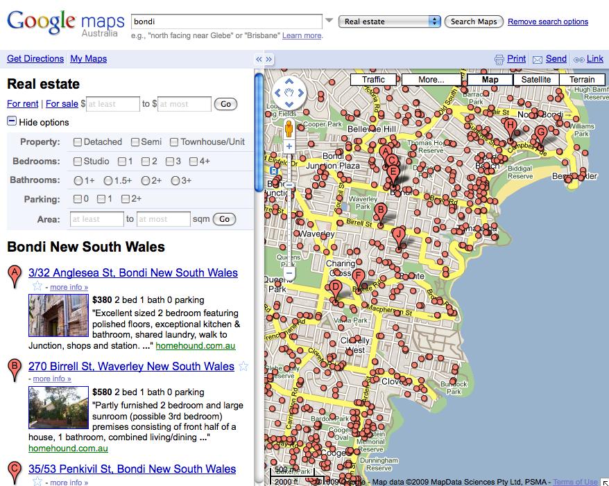 Map Of Australia Google.Google Launches Real Estate Map Search Australia Business 2