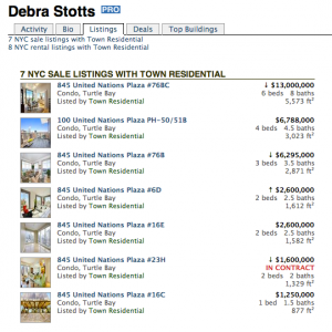 Debra Stotts' current for-sale listings. She limits herself to selling apartments in a single building.